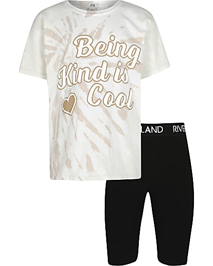 Girls cream 'Kind Is Cool' t-shirt outfit