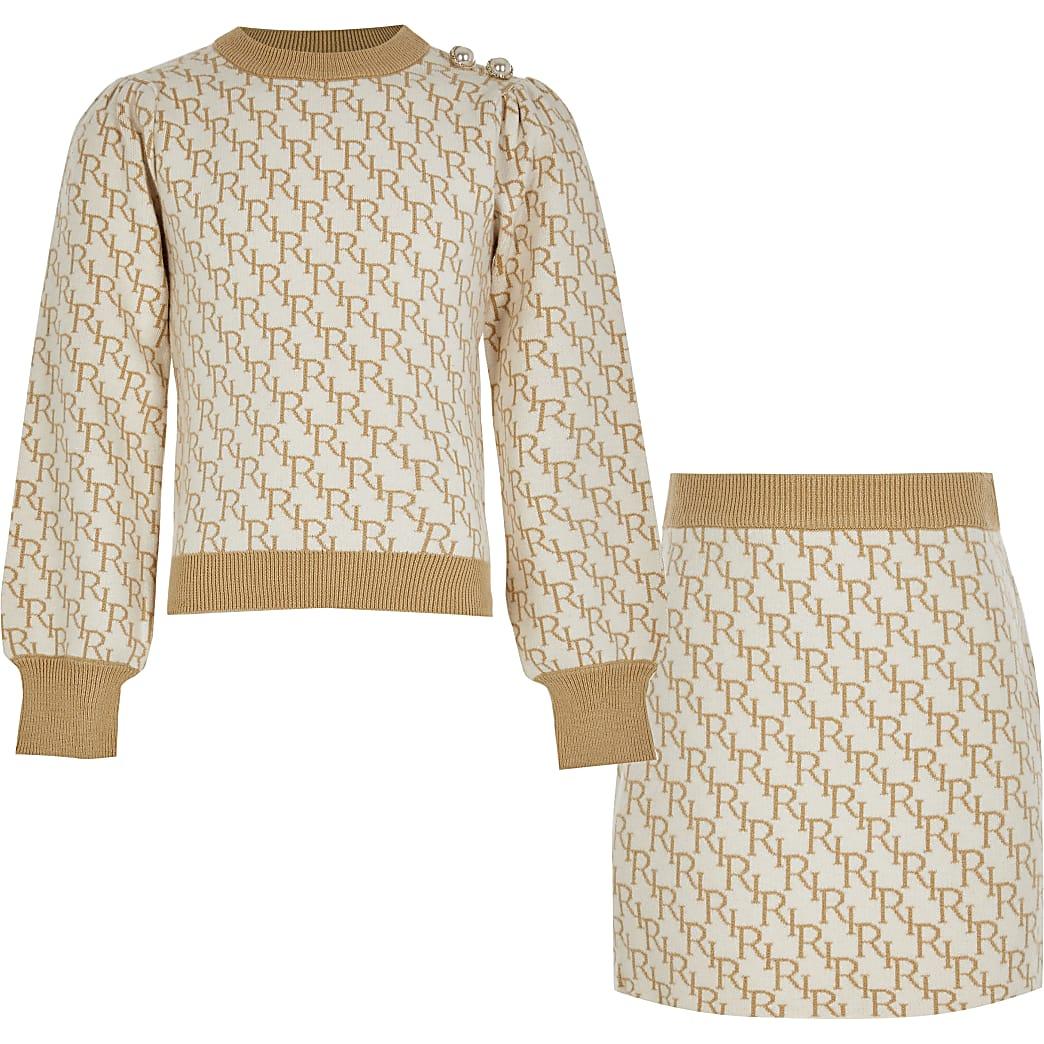 Girls cream knit monogram skirt outfit