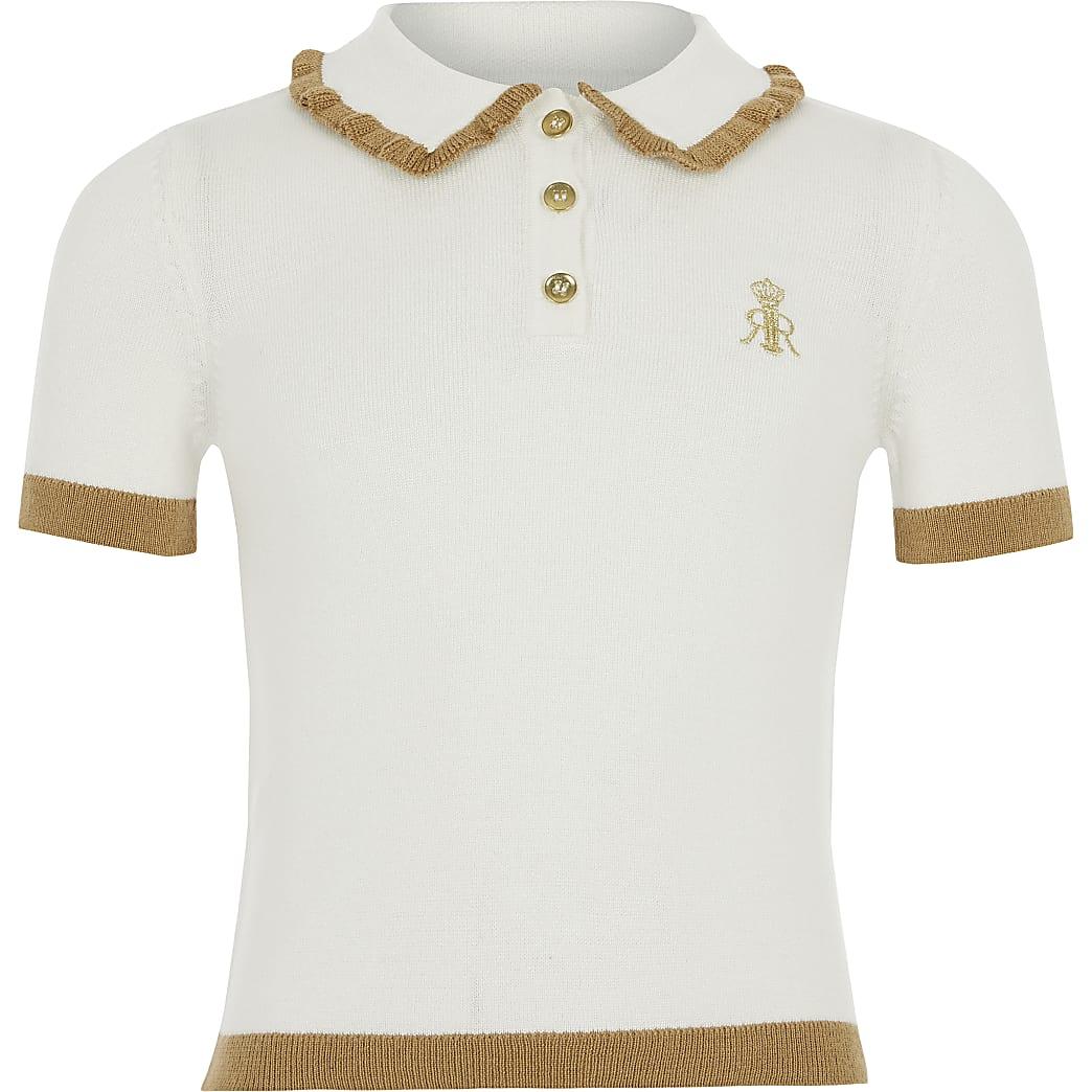 Girls cream knitted polo shirt