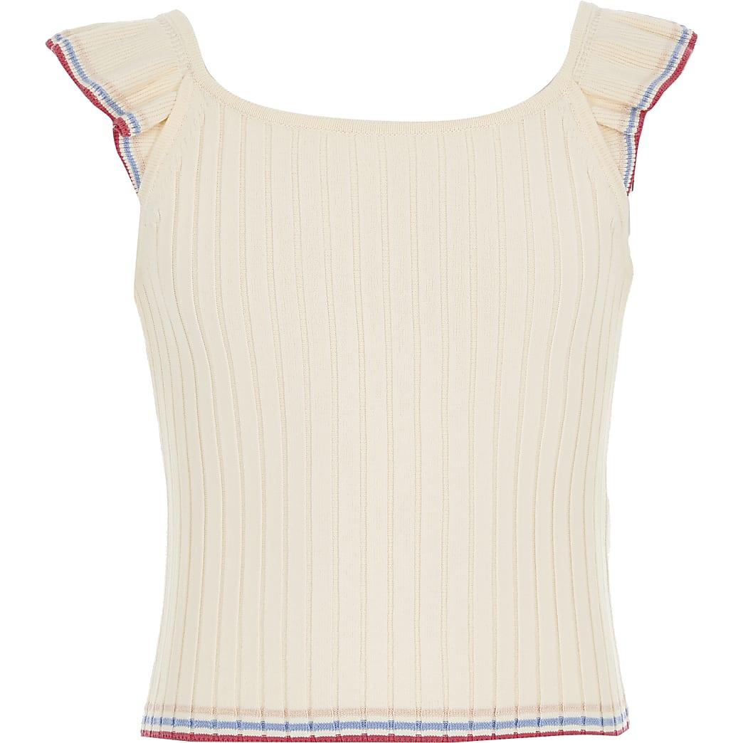 Girls cream knitted top