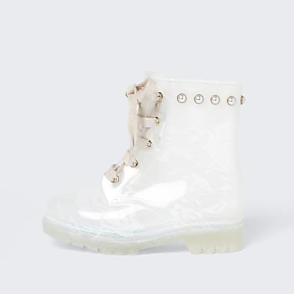 Girls cream lace wellie boots