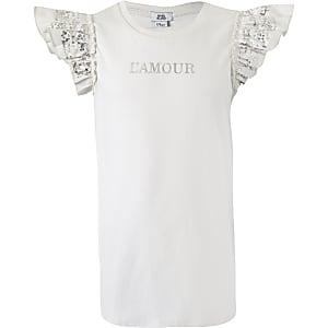 Girls cream 'L'amour' sequin sleeve T-shirt