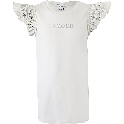 Girls cream 'L'amour' sequin sleeve T-shirt