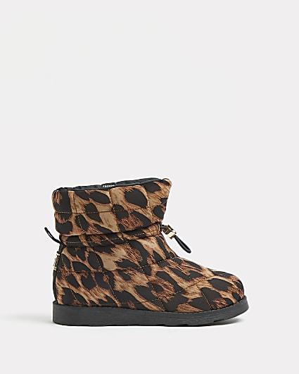 Girls cream leopard print puffer snow boots
