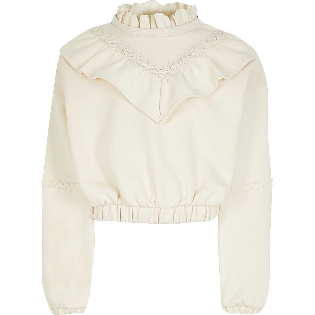 Girls cream long sleeve ruffle sweatshirt