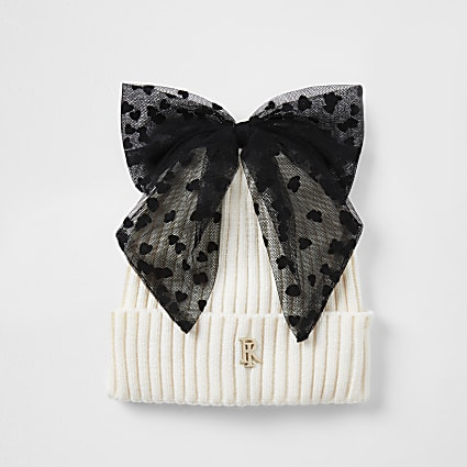 Girls cream mesh bow beanie hat
