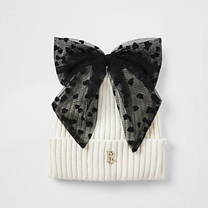 Girls cream mesh bow beanie hat