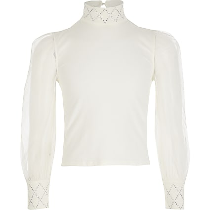 Girls cream mesh sleeve diamante top