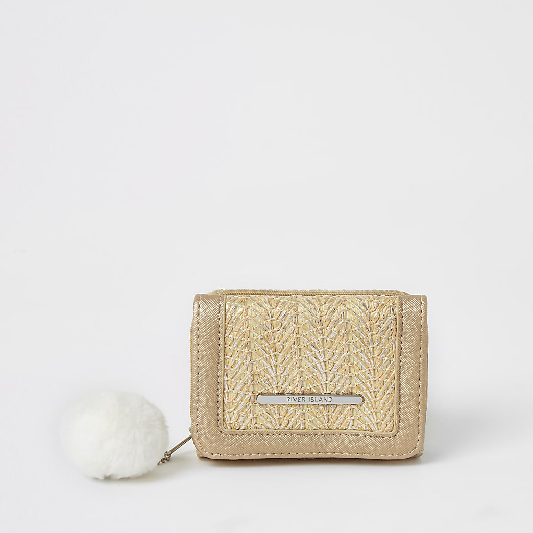 Girls cream metallic textured trifold purse