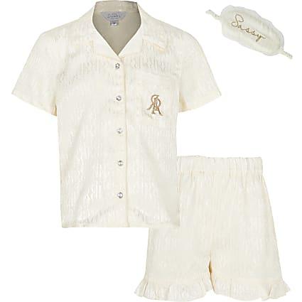 Girls cream monogram jacquard satin pyjamas