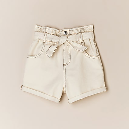 Girls cream paperbag belted denim shorts