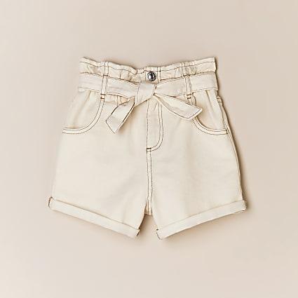 Girls cream paperbag belted denim shorts