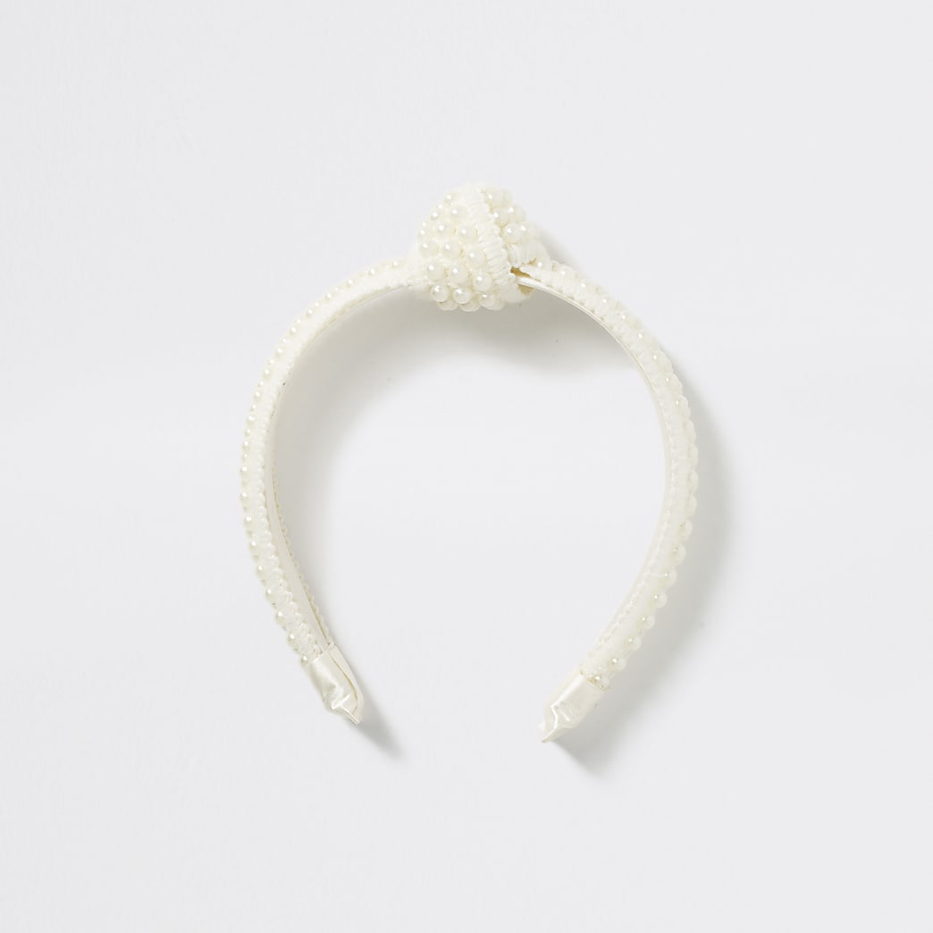 Girls cream pearl knot headband