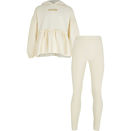 Girls cream peplum hoodie and legging set