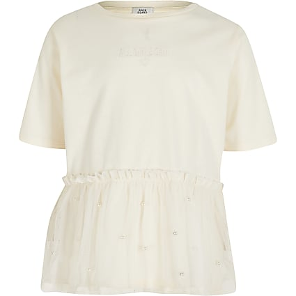 Girls cream peplum mesh t-shirt