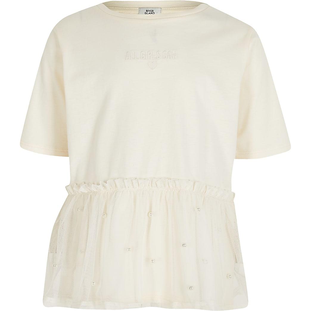 Girls cream peplum mesh t-shirt