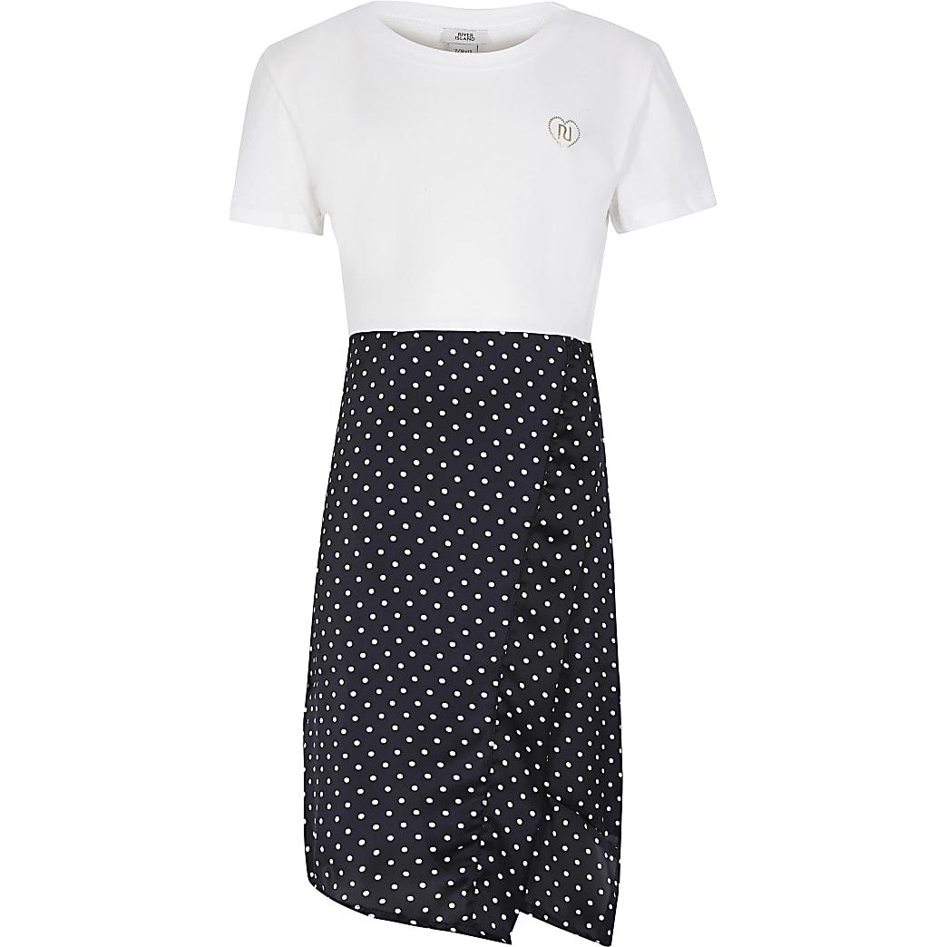 Girls cream polka dress