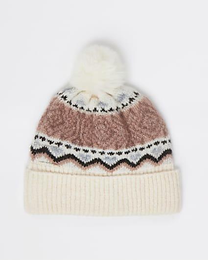Girls cream pom pom beanie hat
