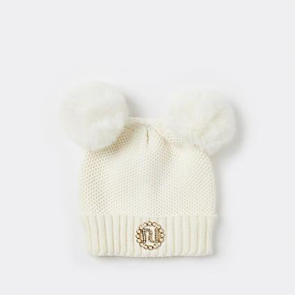 Girls cream pom pom pearl beanie hat