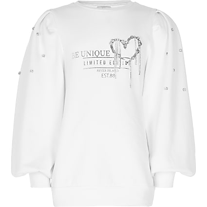 Girls cream puff diamante sweatshirt