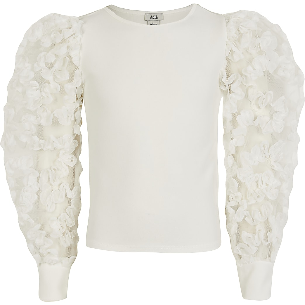 Girls cream puff ruffle sleeve top