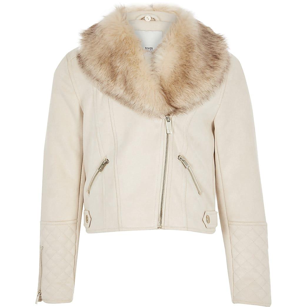 Girls cream quilted biker jacket