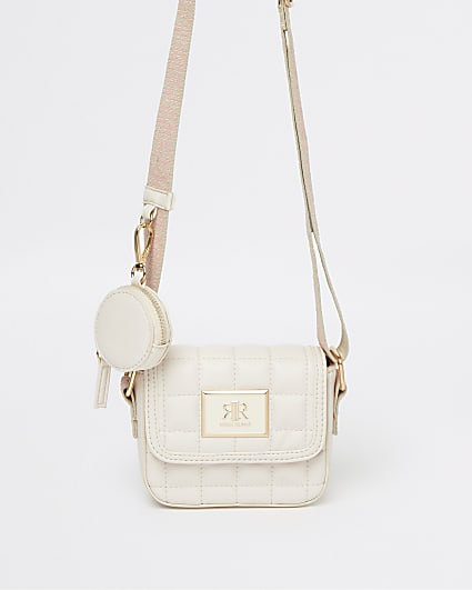 Girls cream quilted cross body bag
