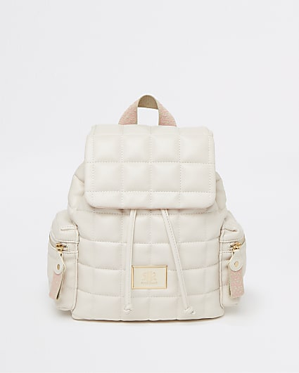 Girls cream quilted faux leather backpack