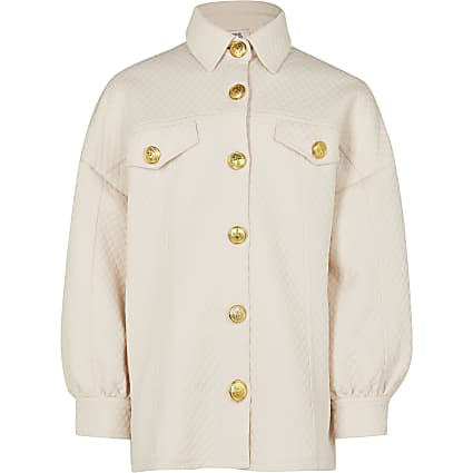 Girls cream quilted longline shacket