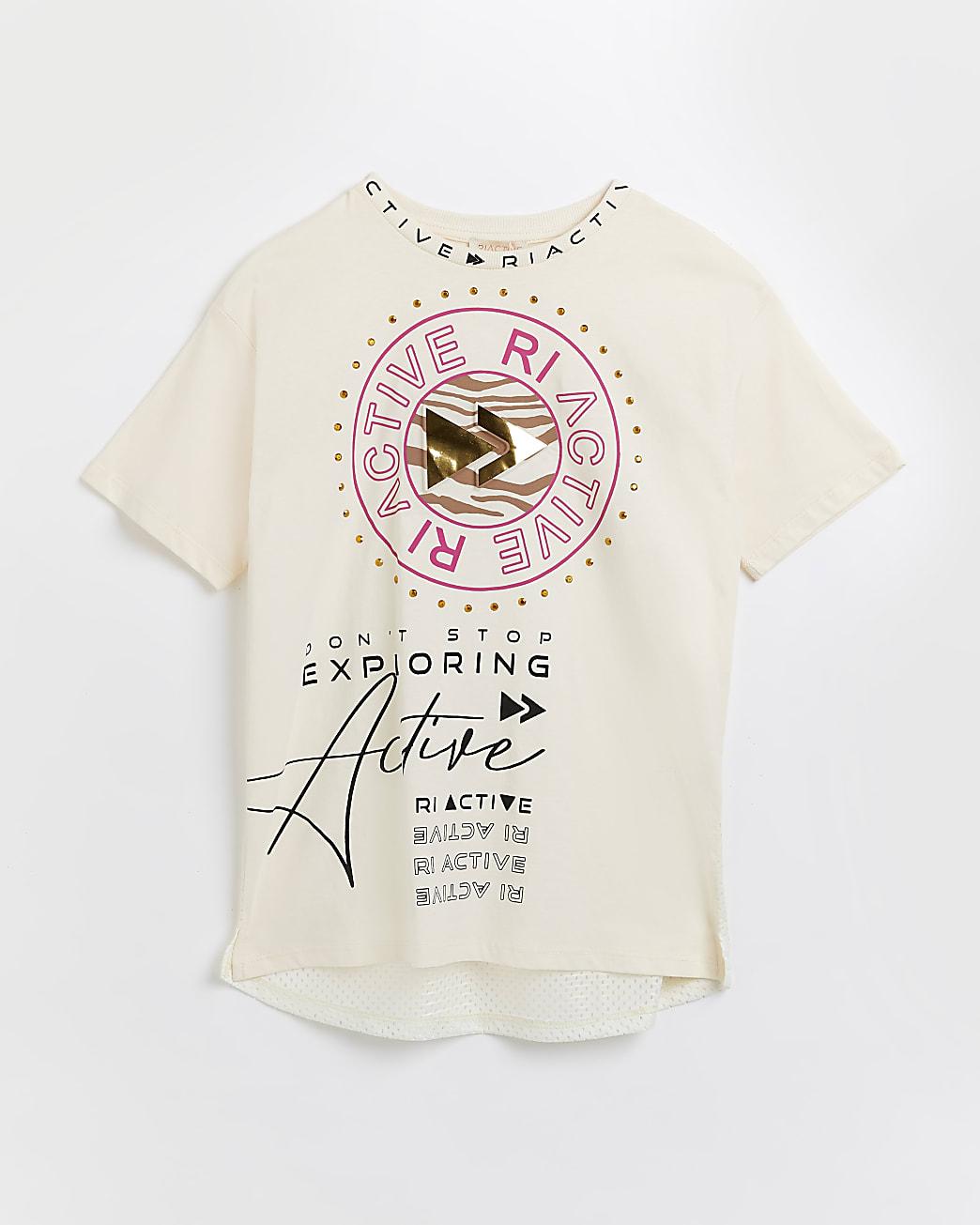Girls cream RI Active mesh back t-shirt
