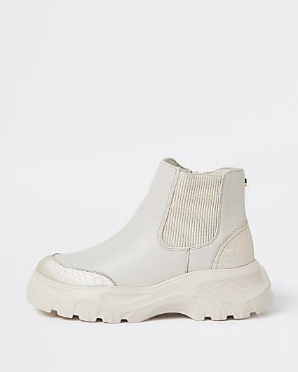Girls cream RI chelsea boots