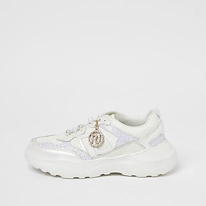 Girls cream RI diamante chunky trainers