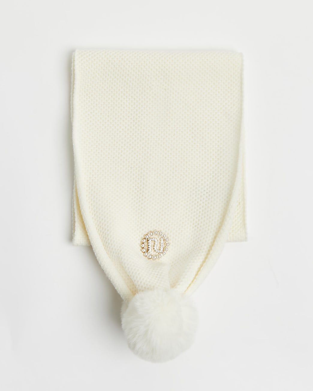 Girls cream RI embellished scarf