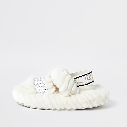 Girls cream RI faux fur slippers