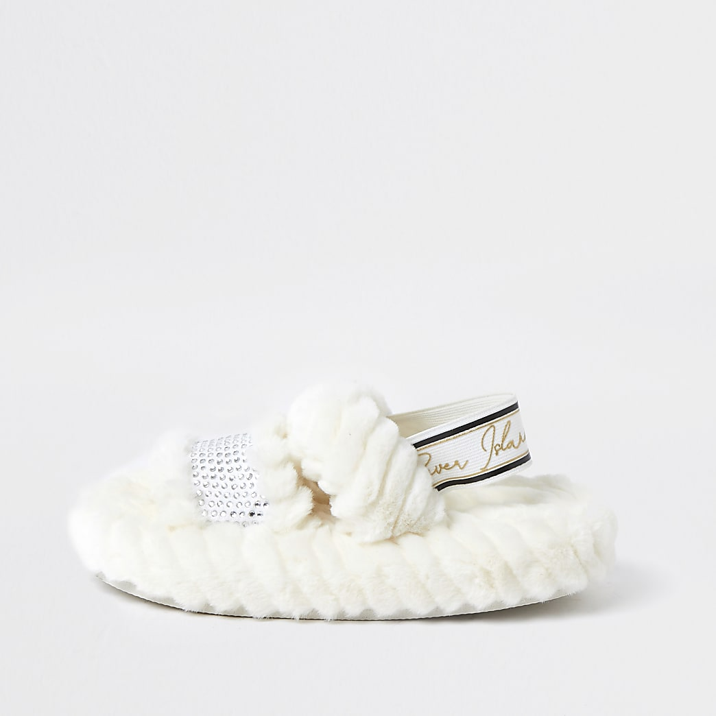Girls cream RI faux fur slippers