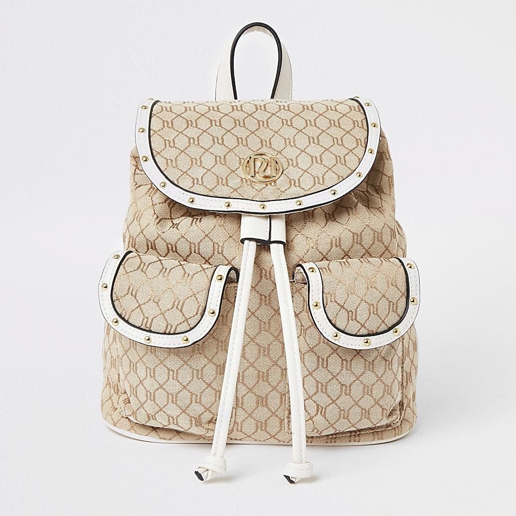 Girls cream Ri jacquard rucksack