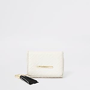 Girls cream RI monogram trifold purse