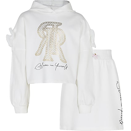 Girls cream RR hoodie and skirt outfit