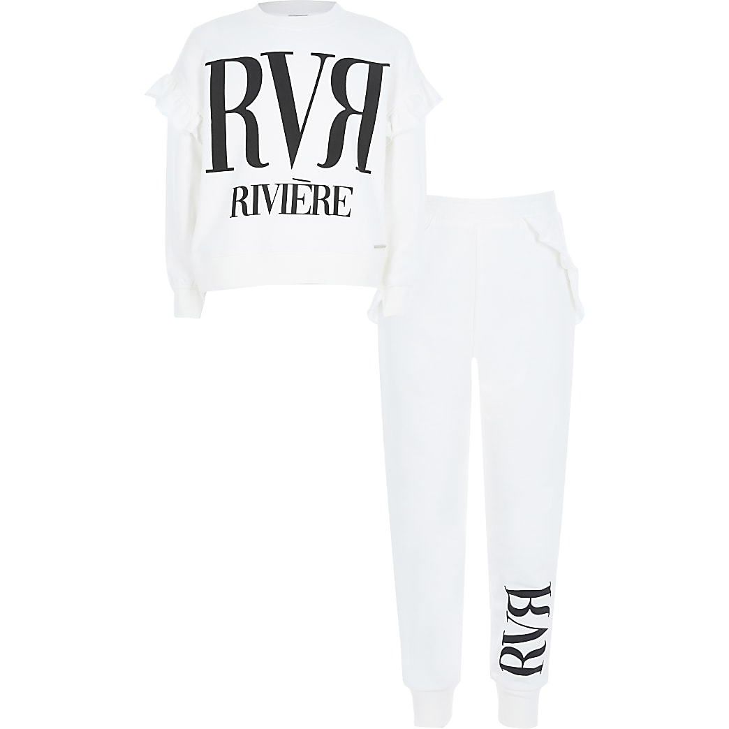 Girls cream RVR print frill sweatshirt outfit