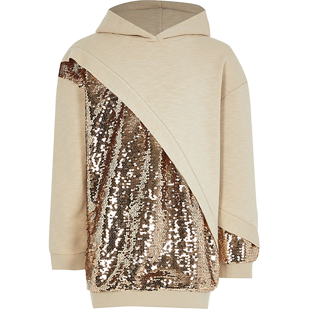 Girls cream sequin chevron hoodie