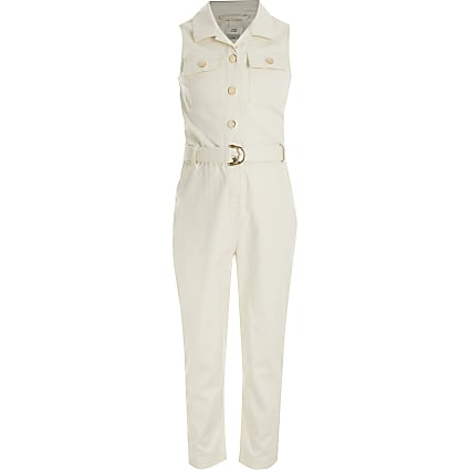 Girls cream sleeveless belted jumpsuit
