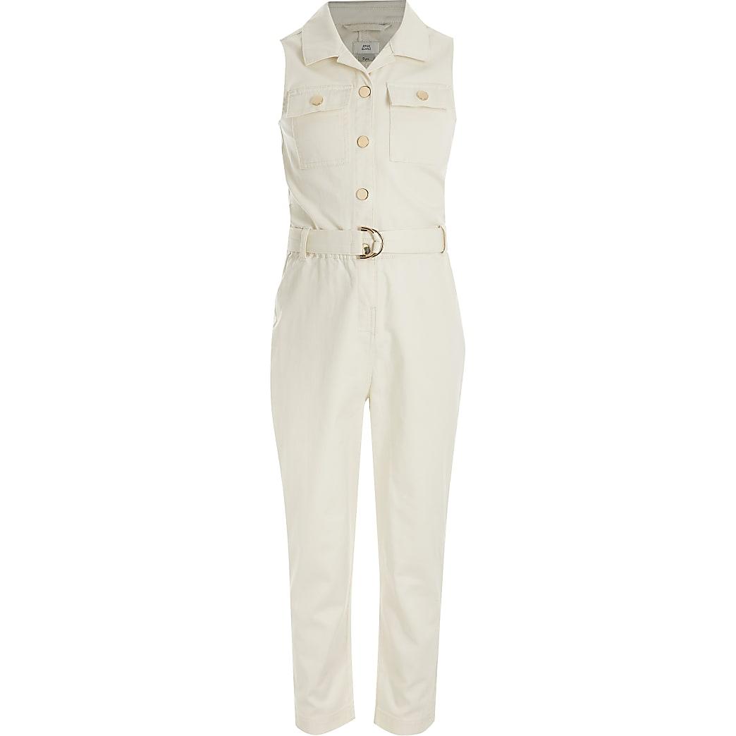 Girls cream sleeveless belted jumpsuit