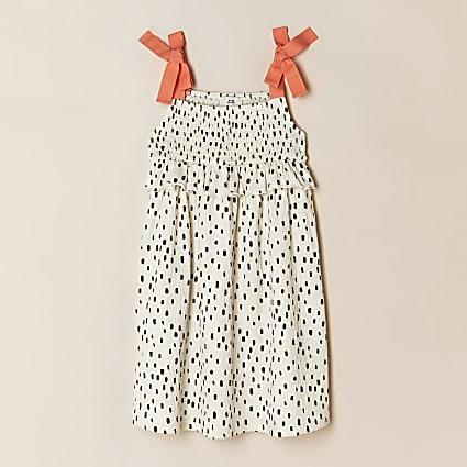 Girls cream spot print dress