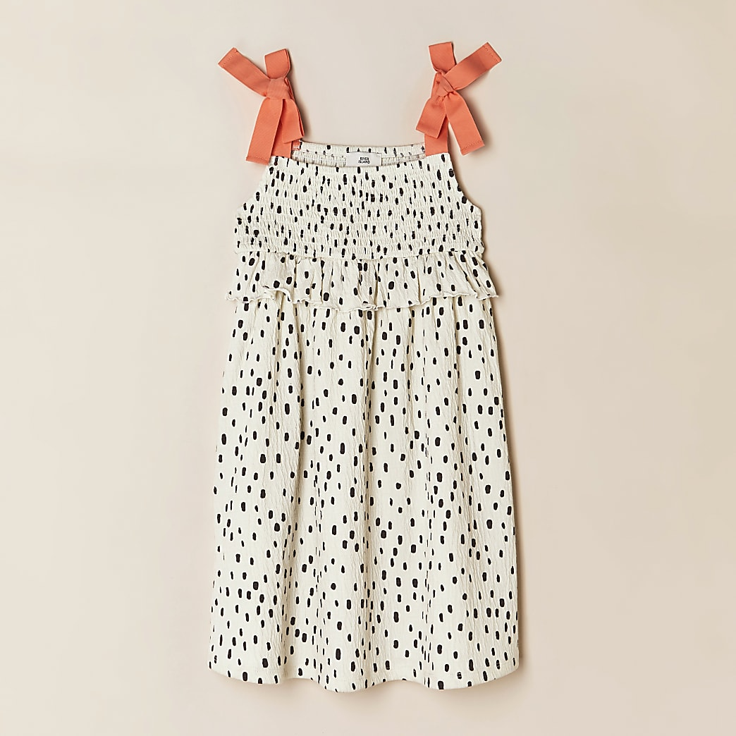 Girls cream spot print dress