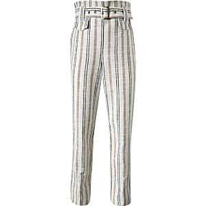 Crèmekleurige gestreepte linnen broek met ceintuur voor meisjes