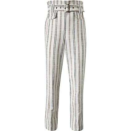 Girls cream stripe belted linen trousers
