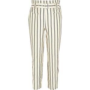 Pantalon ceinturé crème à rayures pour fille