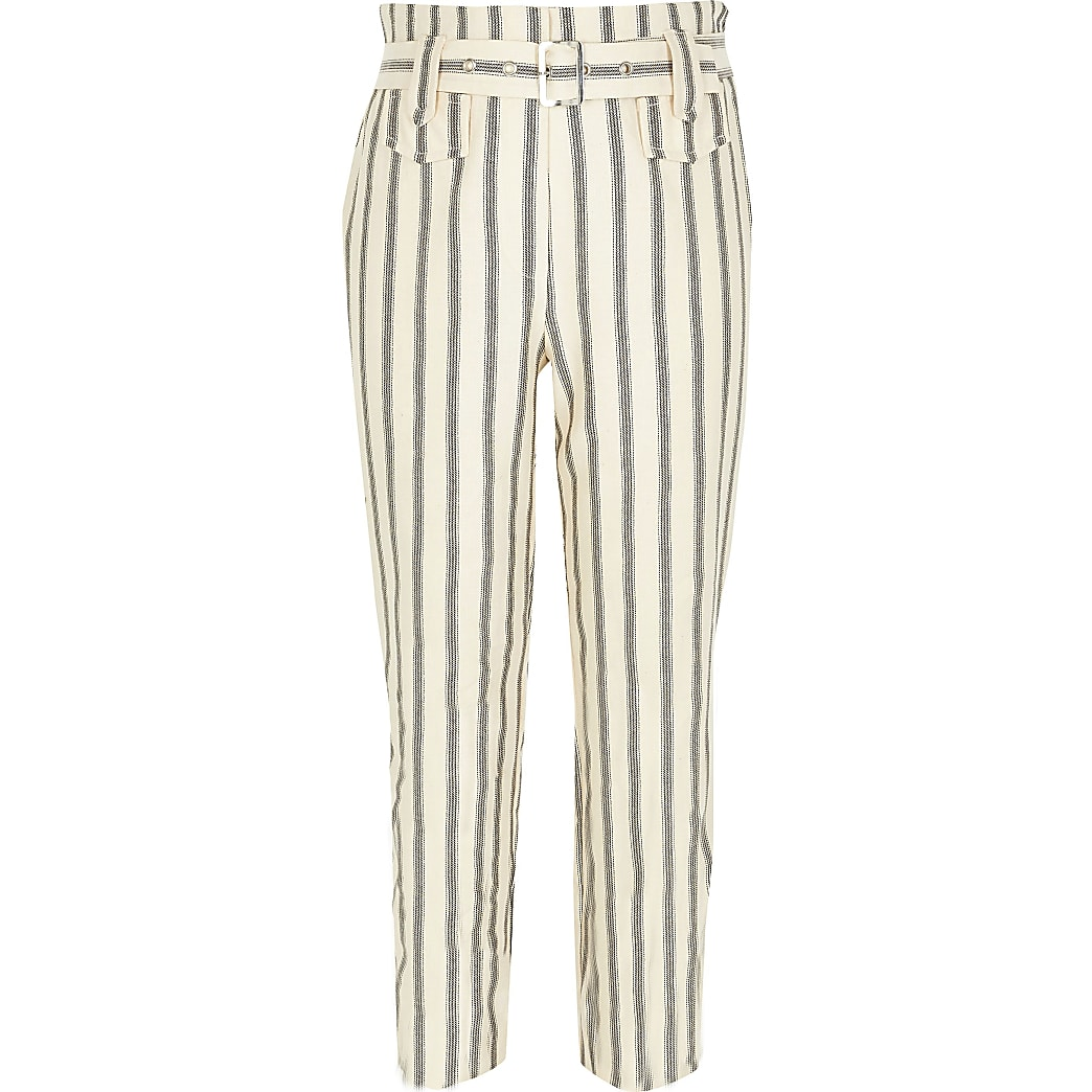 Girls cream stripe belted trousers