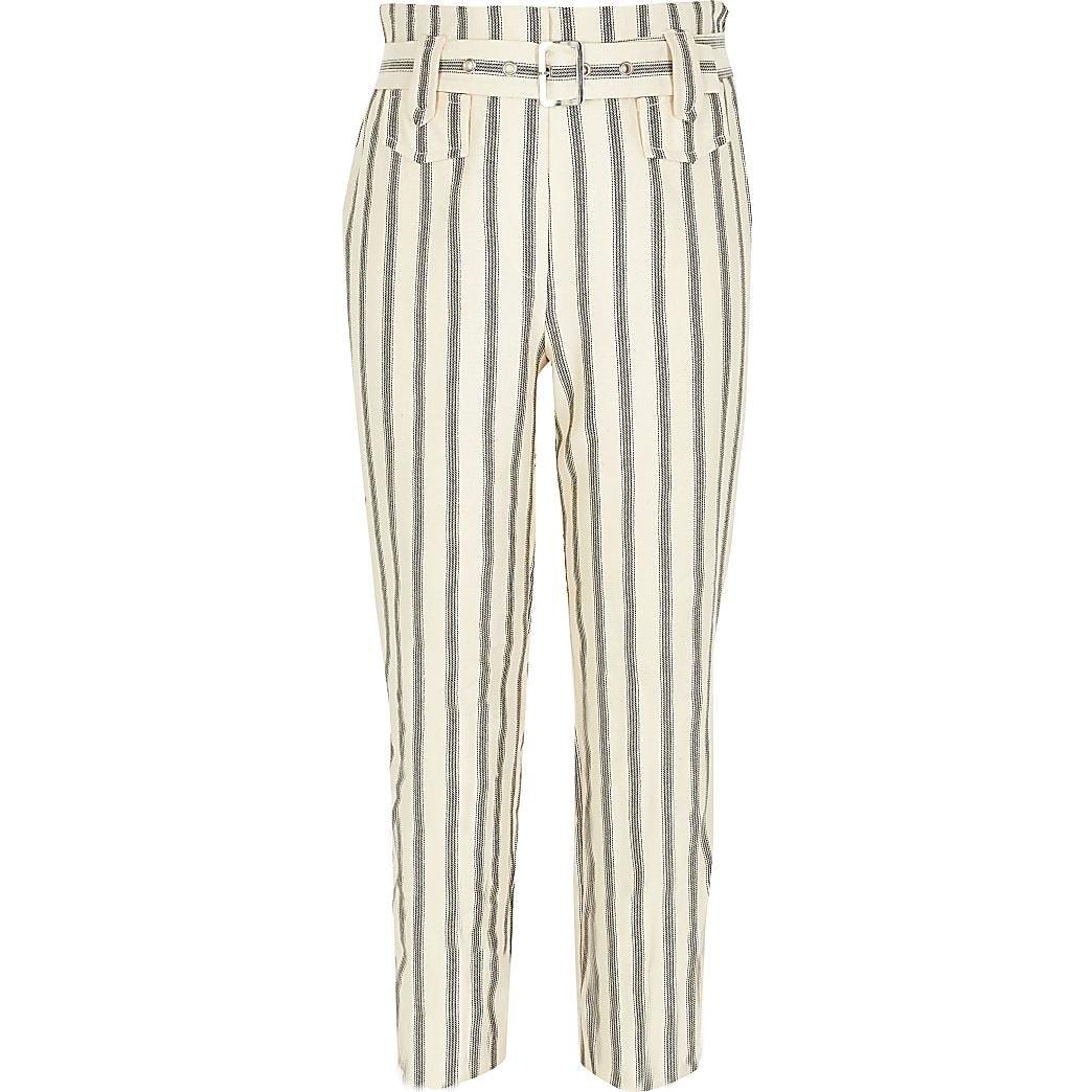Crèmekleurige gestreepte broek met ceintuur voor meisjes