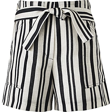 Girls cream stripe linen shorts